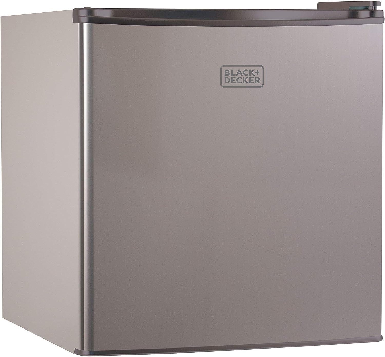 1.7 Cubic Ft. VCM Renewed BLACK+DECKER BCRK17V Compact Refrigerator Energy Star Single Door Mini Fridge with Freezer
