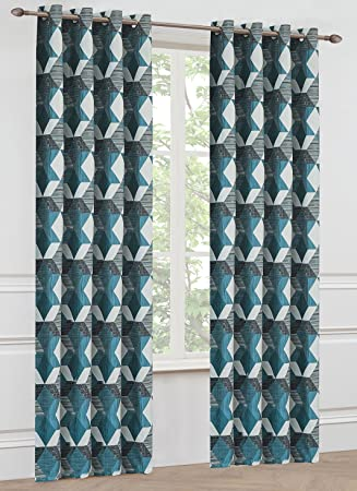 Onlyyou Geometrische Muster, Jacquard   Vorhänge Für Schlafzimmer,  Wohnzimmer, Kinderzimmer, Blau Schwarz