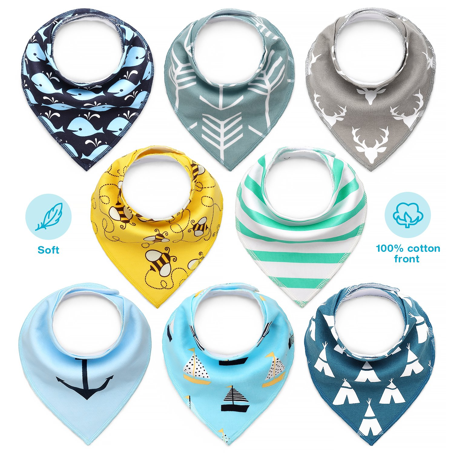 Baby Bandana Dribble,COOLJOY Bibs and Drool Bibs Super Absorbent for Teething Babies, Fits Newborn to Toddler, Award Winning for Boys & Girls (Pack of 8)