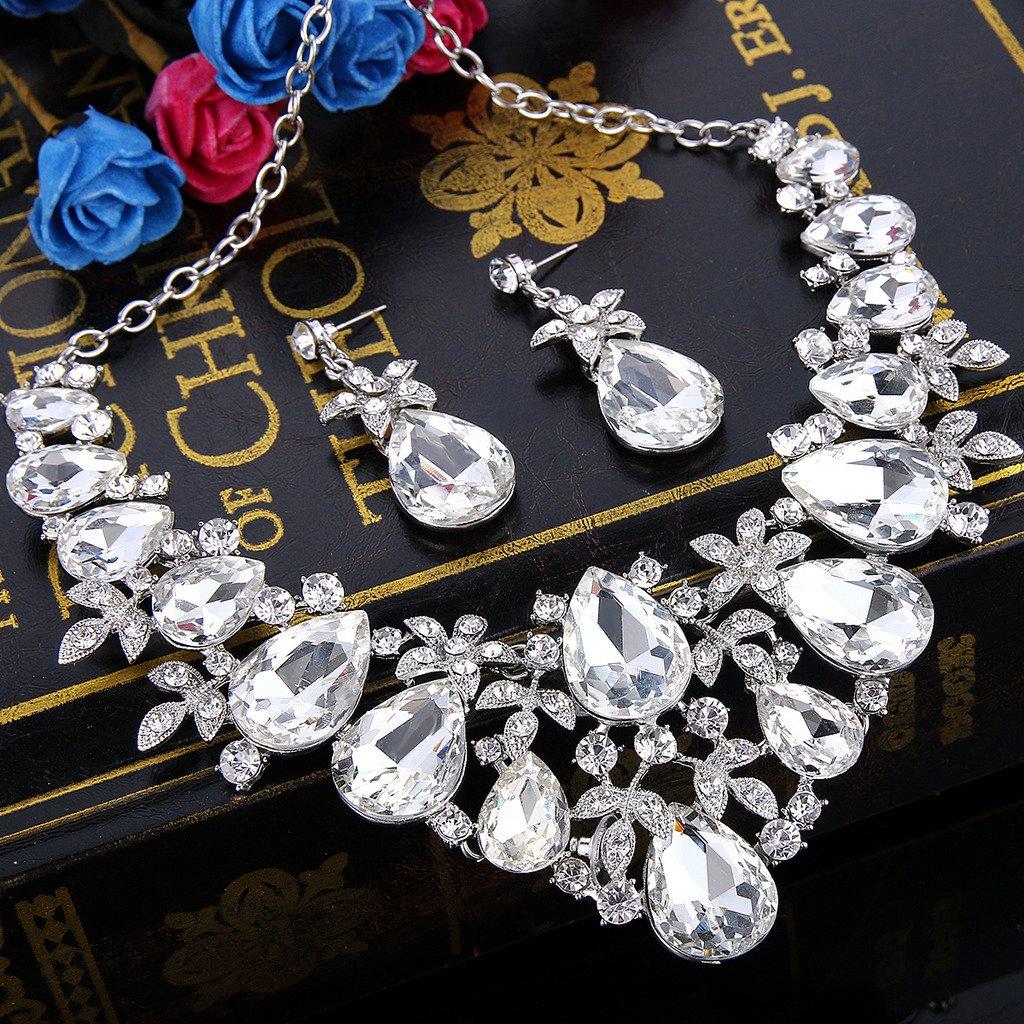BriLove Women's Bohemian Boho Crystal Flower Leaf Vine Teardrop Statement Necklace Dangle Earrings Set Clear Silver-Tone by BriLove (Image #2)
