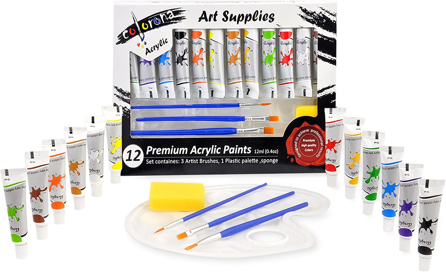 Colorona Acrylic Paint Set 12 Colors with Palette, 3 Paint Brushes & Sponge. Perfect for Canvas, Rocks, Ceramic and Crafts. Non Toxic Vibrant Colors With Rich Quality Pigments for ULTIMATE PERFORMANCE