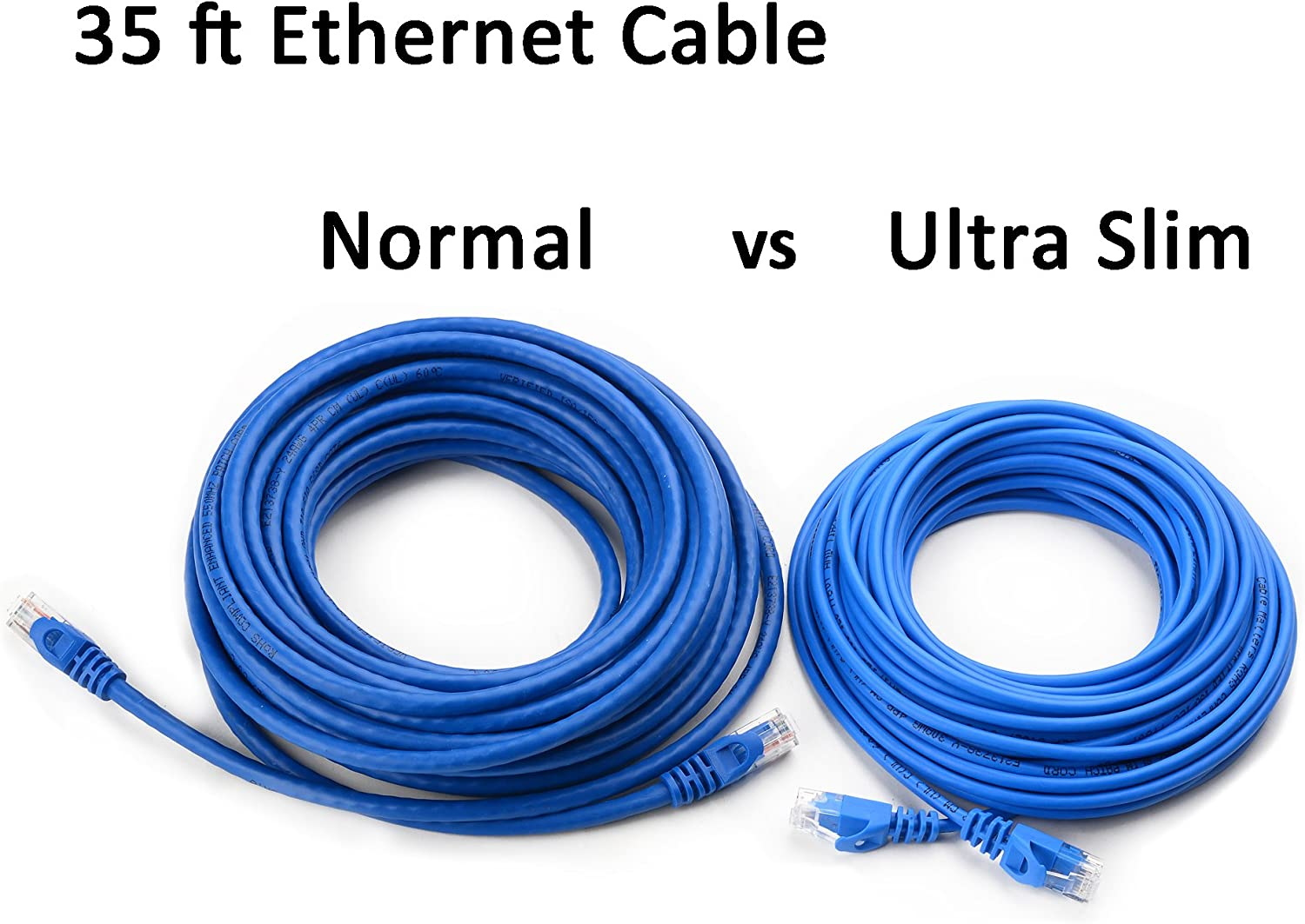 Cable Matters 5-Pack Ultra Slim Cat6 Snagless Ethernet Patch Cable Blue 7 FT