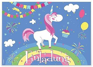 Schön 12 Einladungskarten U0026quot;Einhorn Auf Regenbogenu0026quot; Kindergeburtstag  Luftballons Girlanden Sterne / Geburtstagseinladungen Einladungen Geburtstag