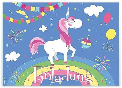 12 Tarjetas De Invitación Unicornio En Arco Iris Niños