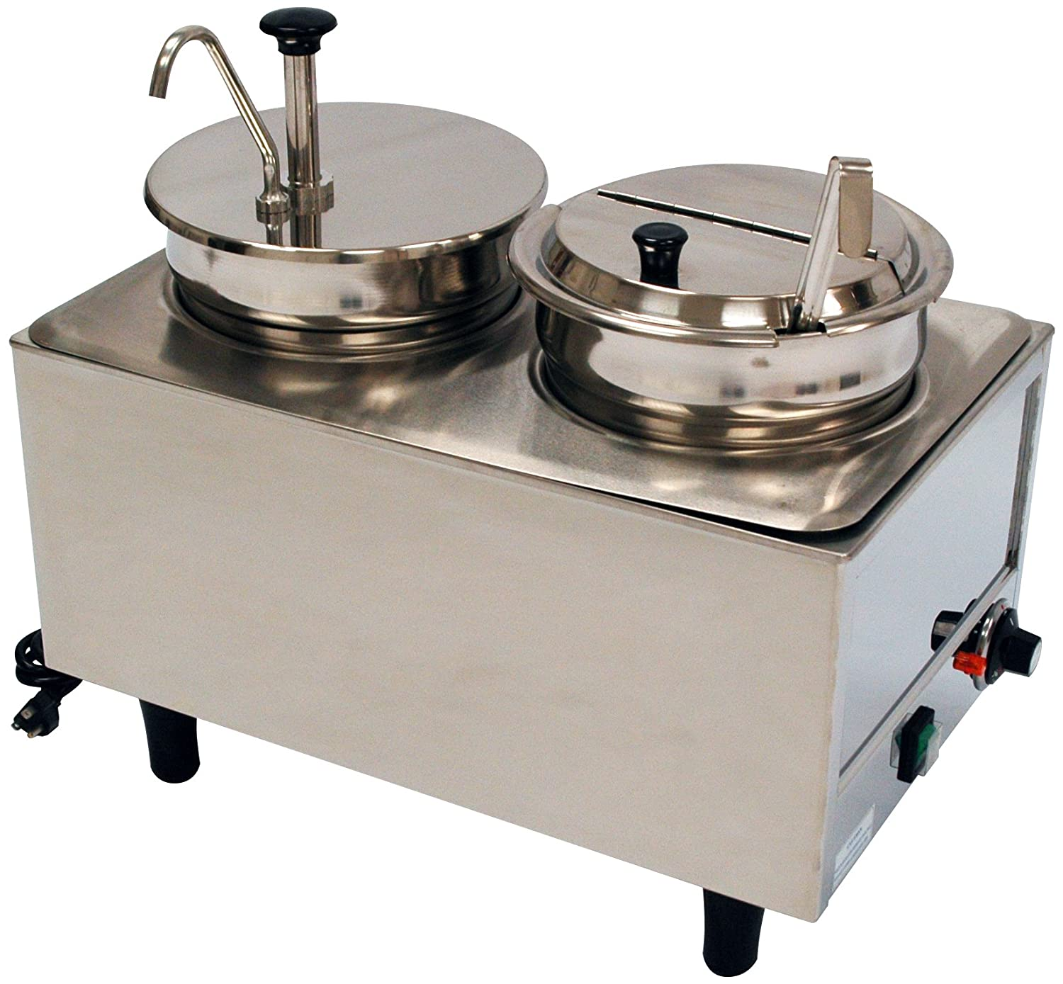 2 21 L Benchmark USA 51073P Dual Well Warmer, Stainless Steel 13 W 17 H 7 Quart Wells and 1 Stainless Steel Pump