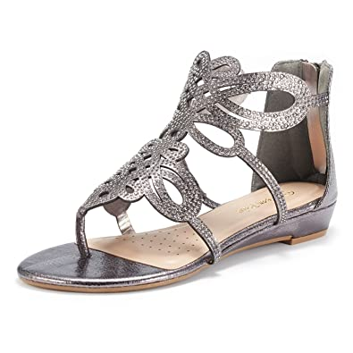 497af25df DREAM PAIRS Women s Jewel 02 Pewter Rhinestones Design Ankle High Flat  Sandals Size 5 ...