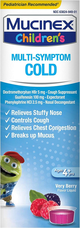 Mucinex Children's Multi-Symptom Cold Relief Liquid- Relieves Stuffy Nose, Chest Congestion, Cough & Mucus, Expectorant & Cough Suppressant With Dextromethorphan, Guaifenesin, Phenylephrine, 4 oz.