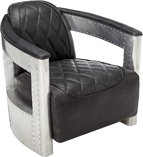 Pulaski Modern Industrial Metal and Leather Aviation Accent Arm Chair