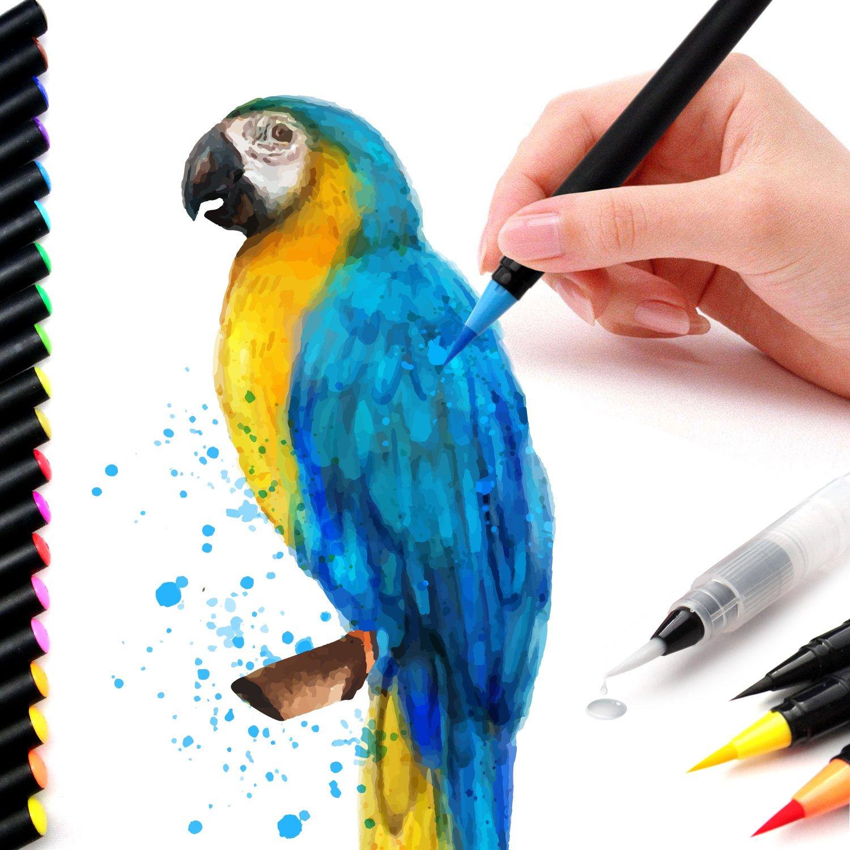 Lápices De Acuarela Para Colorear 20 Pinceles Para Manualidades Colorear Libros Bocetos Pintura De Caligrafía Con 1 Pincel De Agua Con Punta De