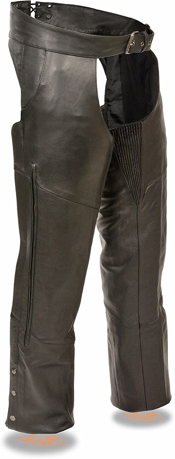VENTED LEGS CHAPS WITH ELISTICIZE THIGHS L