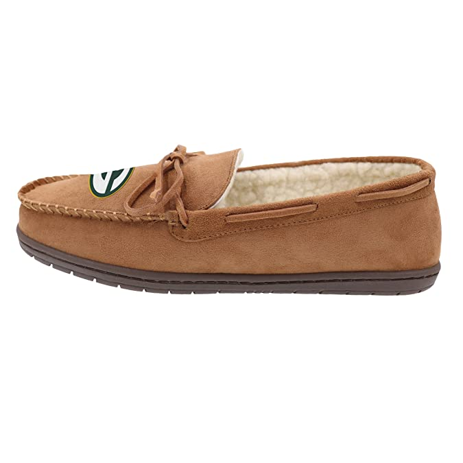 Amazon.com | NFL Green Bay Packers Mens Moccasin Slipper, Tan, Small | Shoes