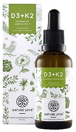 Vitamin D3 + K2 Tropfen 50ml. Premium: VitaMK7 von Gnosis® 99,7% All Trans + besonders stabiles und hoch bioverfügbares Vitam