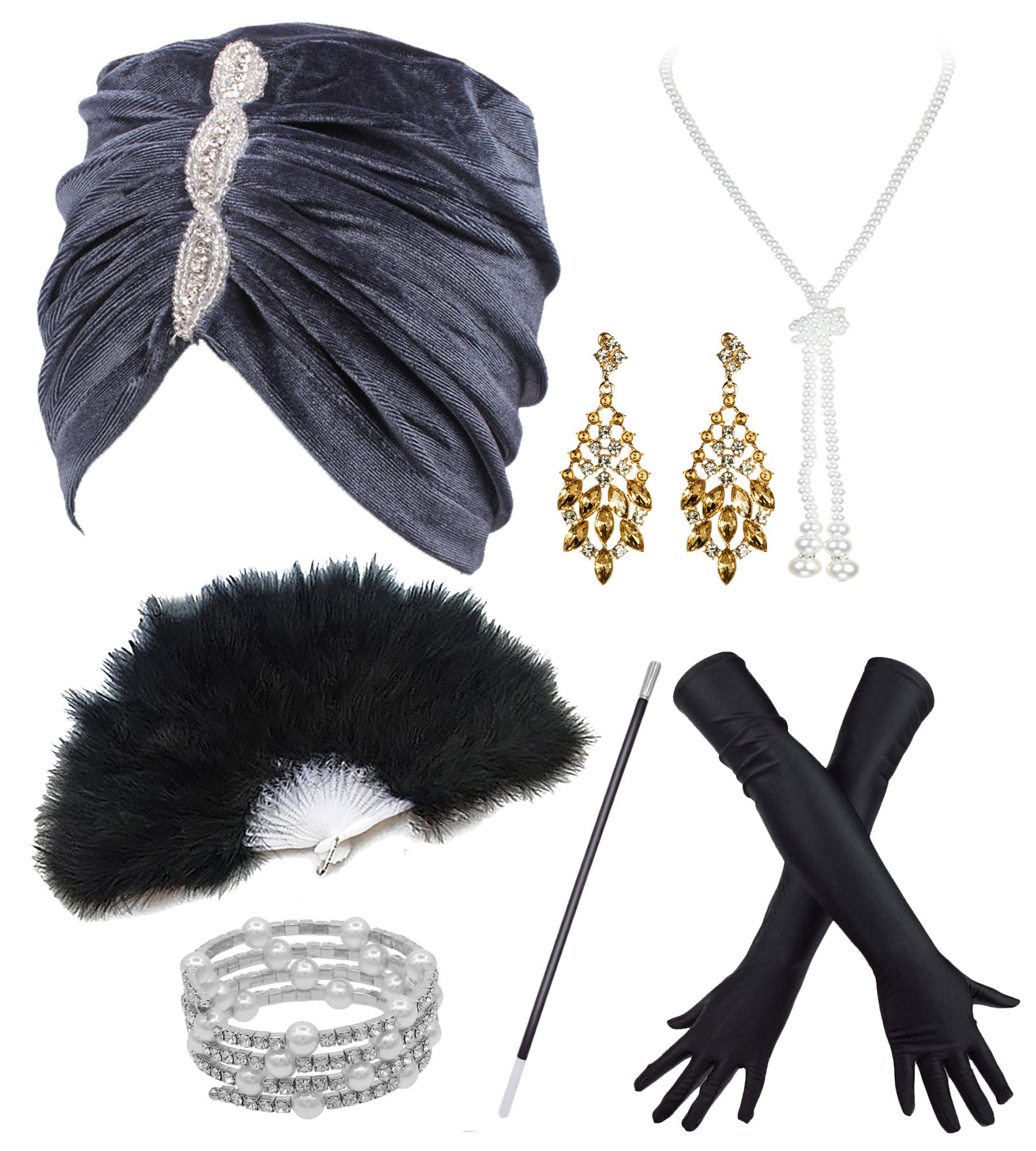 Vintage Lurex Knit Turban Beanie Hats w/ 20s Set for 1920s Cocktail Party (one Size, Grey) by POKERGODZ