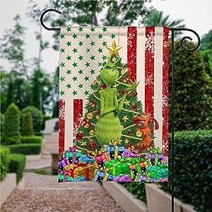 Garden Flag The Grin-ch Lives Here Flag, Grin-ch Christmas Flag Yard Decor House Decor Flag Seasonal Banners for Patio Lawn Outdoor 28x40