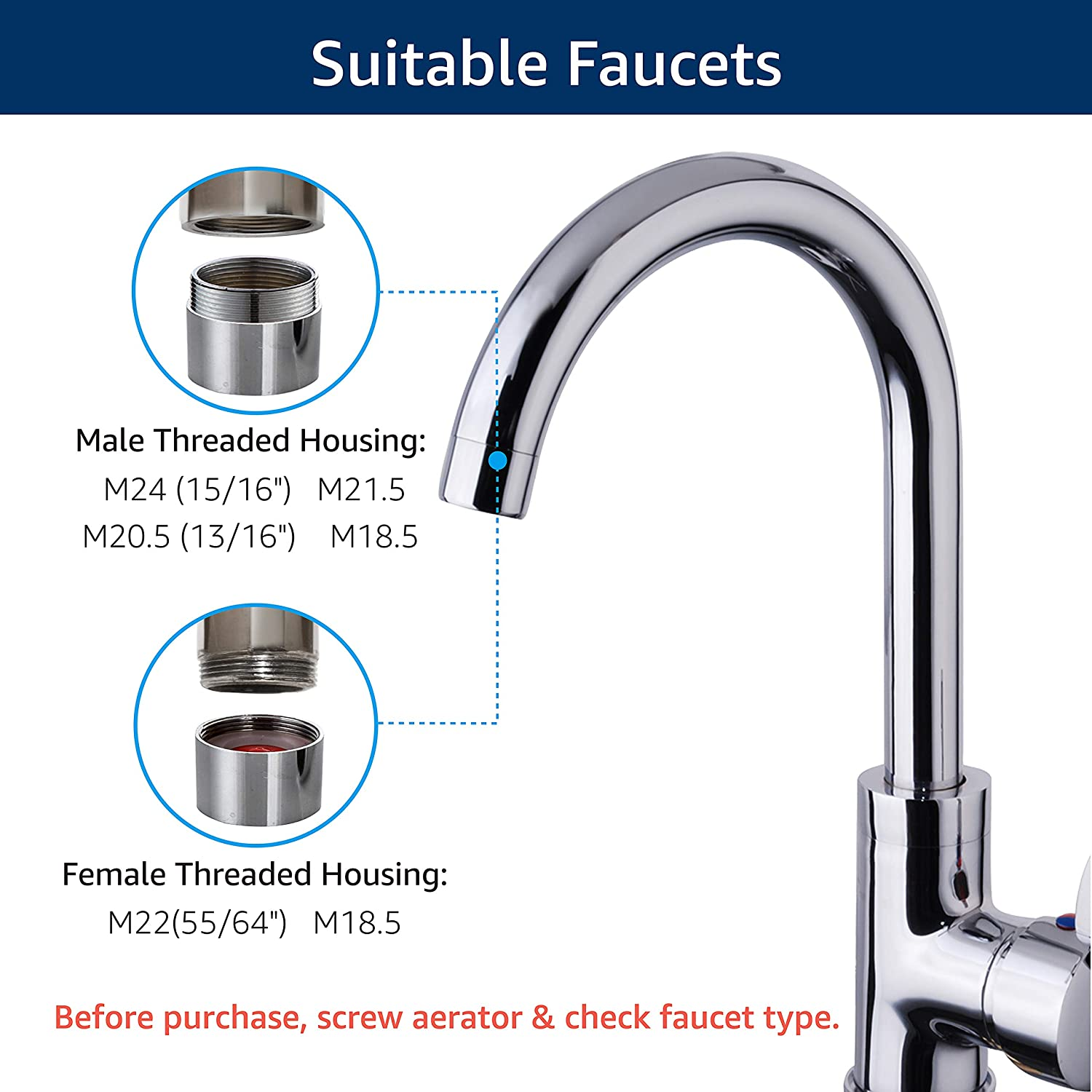 Waterdrop WD-FC-01 Faucet Mount Water Filter -  Compatible faucets