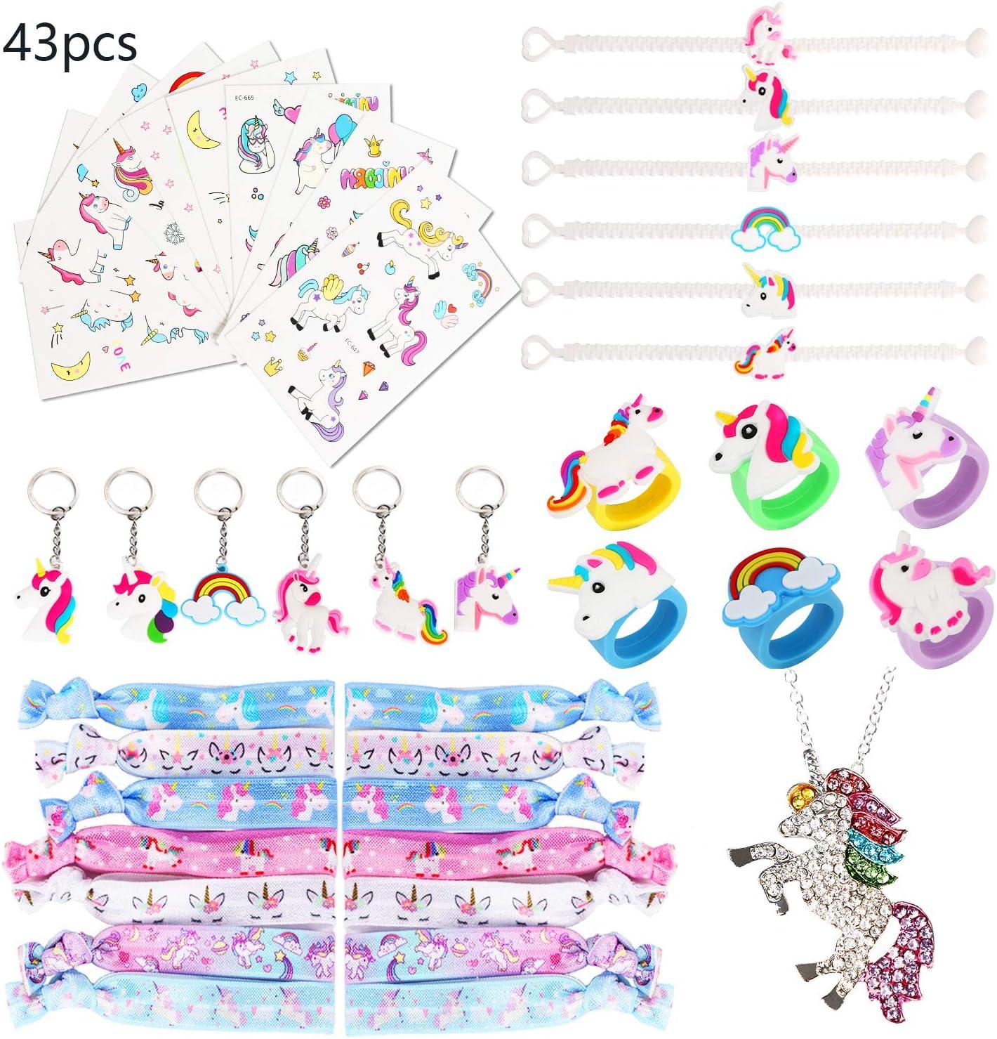 URAQT Kit de Unicornio para Niños, 43 Piezas Regalos Piñatas de Cumpleaños, Juguetes de Fiesta de Unicornio para Niñas