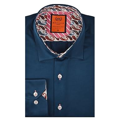 d4b79fe2 Oscar Banks Contrast Trim Mens 100% Cotton Long Sleeve Shirt at Amazon  Men's Clothing store: