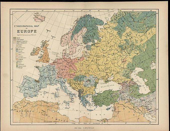 Germany Map Of Europe.Amazon Com Ethnographic Europe Bask Germany Swedes Breton 1883