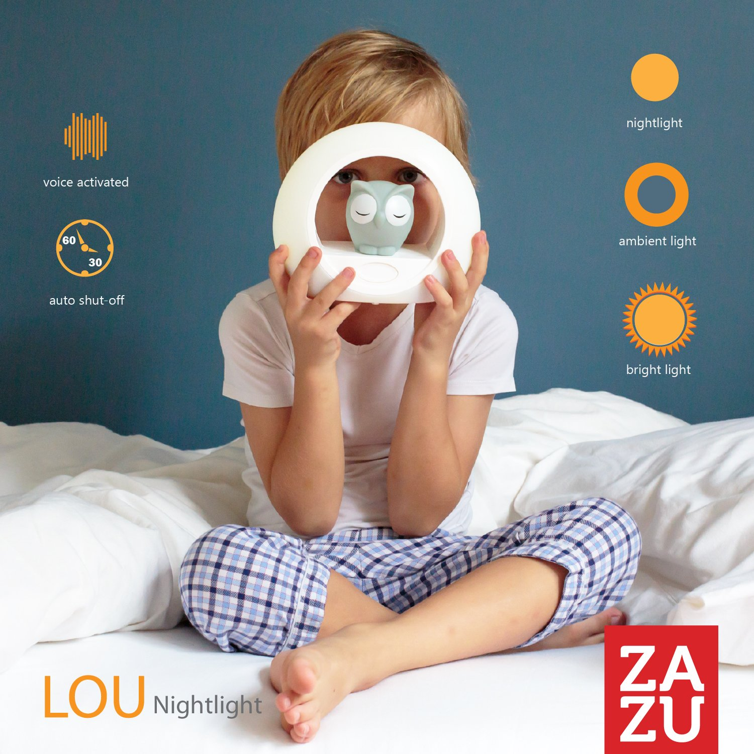 Voice Activated Nightlight Lamp - Sleep Trainer, Blue Owl LOU by Zazu Kids by Zazu Kids