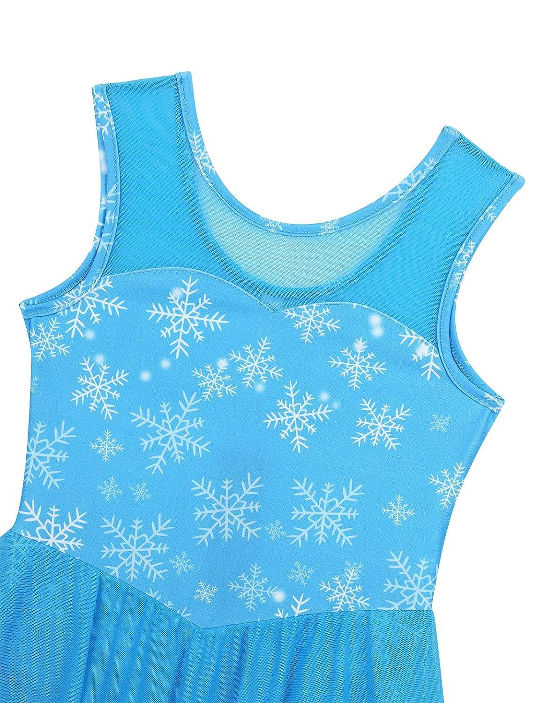 iixpin Kids Girls Snowflake Pattern Printed Ballet Dance Tutu Dress Ice Skating Competition Mesh Splice Outfit