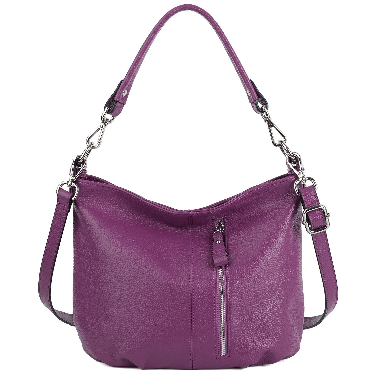 YALUXE Women's Front Pocket Soft Cowhide Leather Small Mini Purse Hobo Style Shoulder Bag Purple