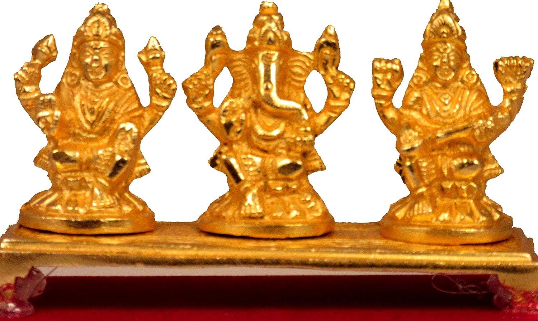 Suninow Brass Gold Plated Decorative Laxmi Ganesha Set Hindu Idols Ganesh Lakshmi Statue Home Office Car Dashboard Decor Pujan Puja