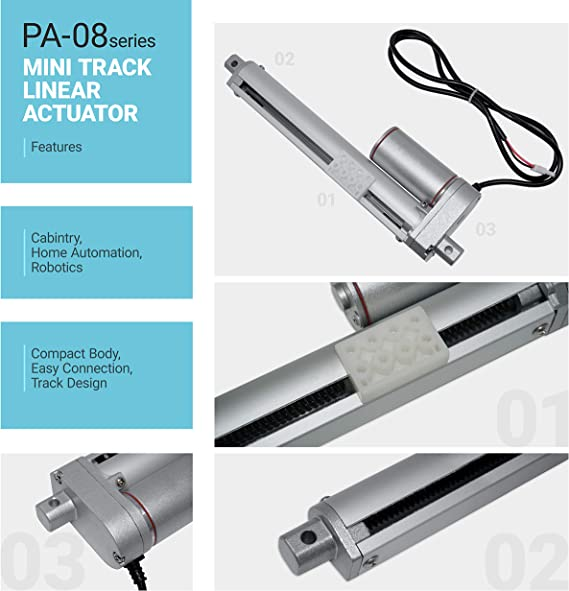 Home Automation Solar Model: PA-14-1-50-24VDC | Innovative High-Speed Motor and Durable Stroke Track Agriculture for Outdoor 1, 50 lbs. Robotics Mini Linear Electric Actuator 24V