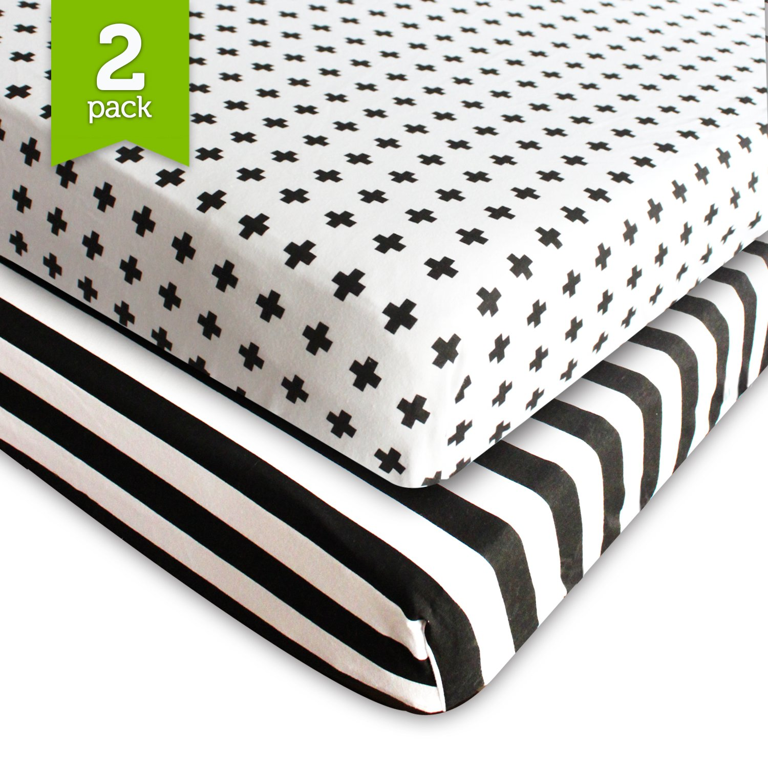 Crib Sheet Fitted Jersey Cotton (2 Pack) Black, White, Stripes, Cross by Ziggy Baby