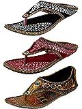 Ziaula Women Ethnic|Traditional|Flat|Slipper Combo of 3|