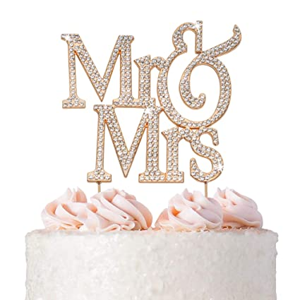 Mr And Mrs Wedding Cake Topper Premium Rose Gold Metal Sparkly Wedding Or Anniversary Cake Topper Now Protected In A Box Amazon Com Grocery Gourmet Food
