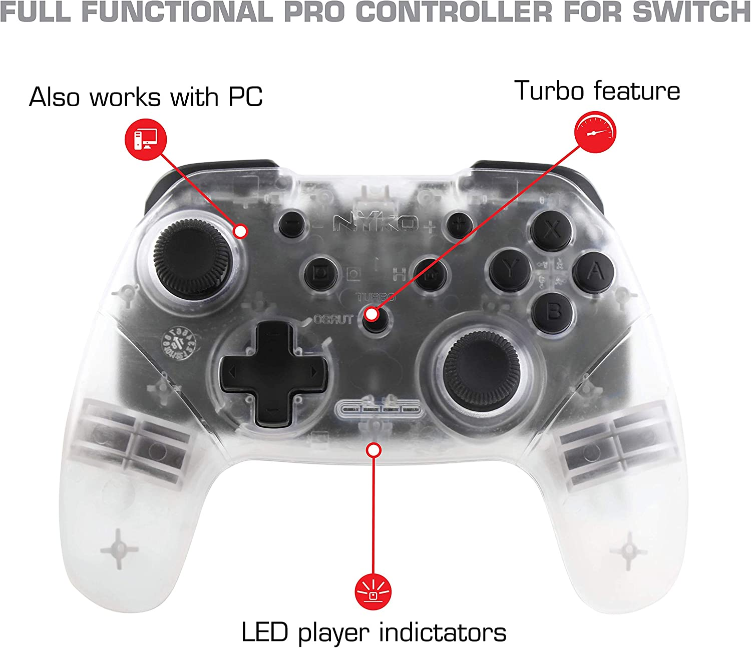 Nyko Wireless Core Controller - Bluetooth Pro Controller Alternative with Turbo and Android/PC Compatibility for Nintendo Switch - Claire [video game]: Amazon.es: Videojuegos