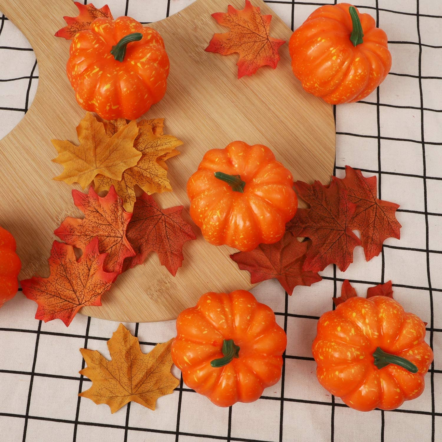 Lulu Home Artificial Pumpkins for Decoration 12PCS Mini Fake Pumpkins with 30PCS Lifelike Maple Leaves Artificial Vegetables for April Fools Day Decorations Halloween