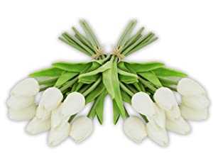 EZFLOWERY 20 Heads Artificial Tulips Flowers Real Touch Arrangement Bouquet for Home Room Office Party Wedding Decoration, Excellent Gift Idea for Mothers Day (20, White)