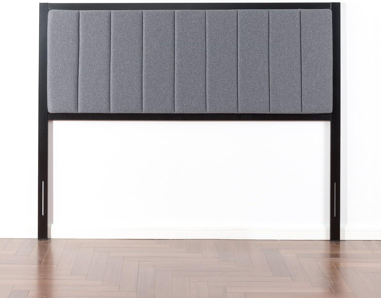 Zinus Anuar Banded Grey Upholstered Metal Headboard, Queen
