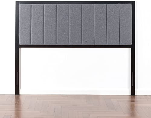 Zinus Anuar Banded Grey Upholstered Metal Headboard