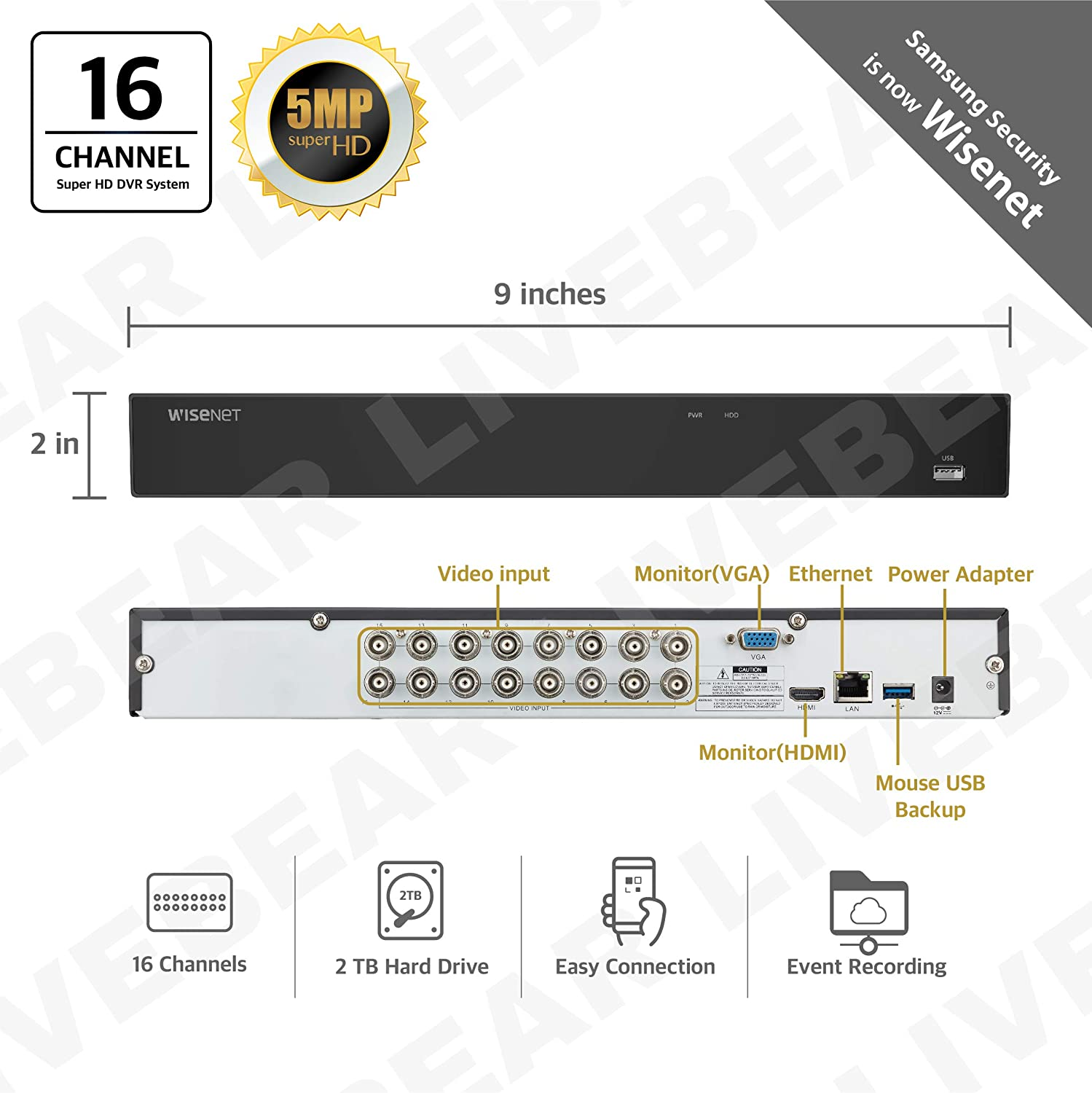 Wisenet SDH-C85105-16 16 Channel Super HD DVR Video Security System with 2TB Hard Drive and 16 5MP Weather Resistant Bullet Cameras SDC-89445BF