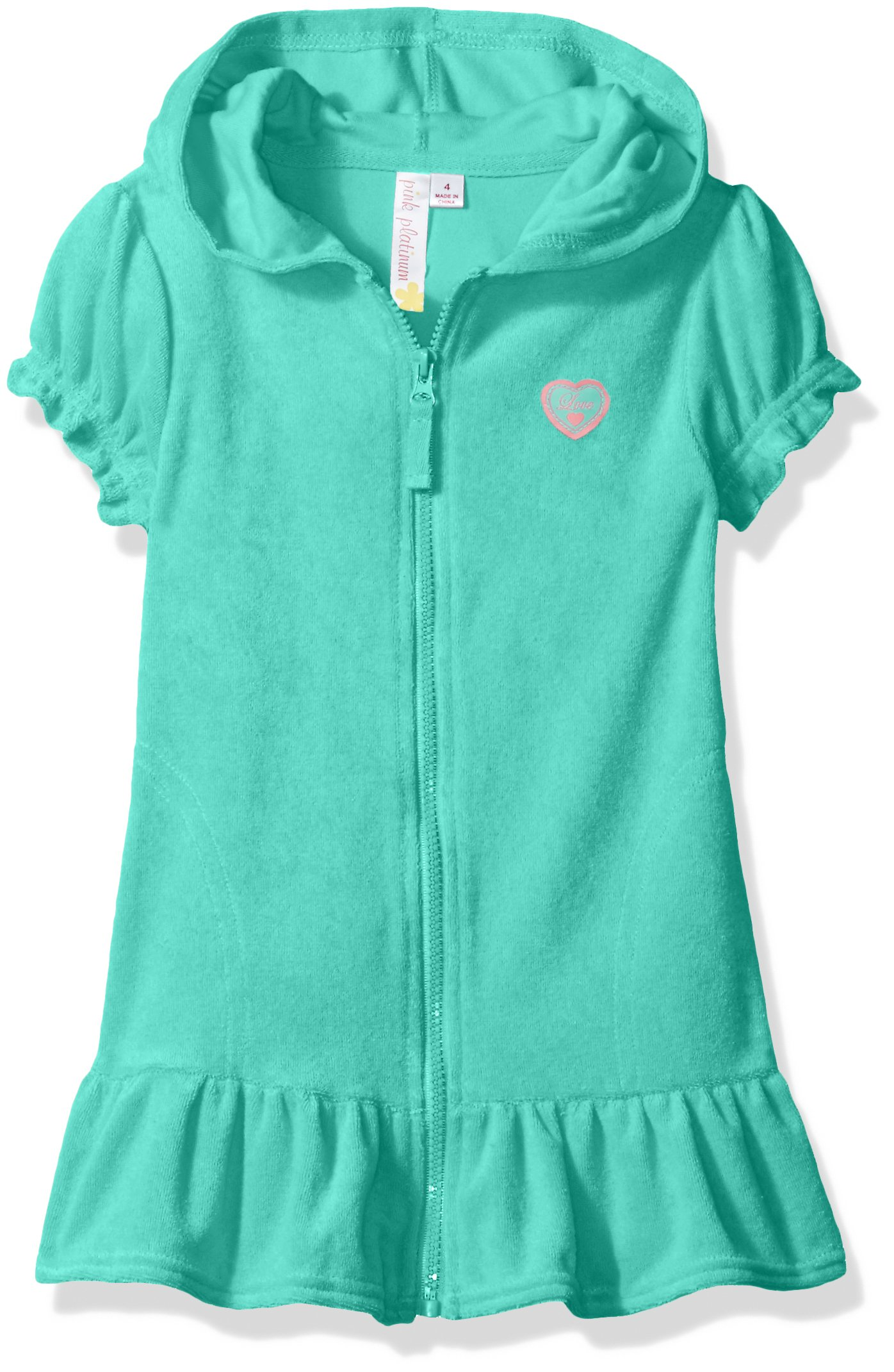 Pink Platinum Toddler Girls' Hooded Terry Swim Cover up, Seafoam, 3T