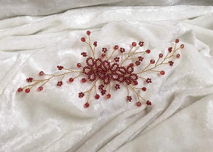 Garnet Red Hair Vine - Wedding guest, Party, Hair