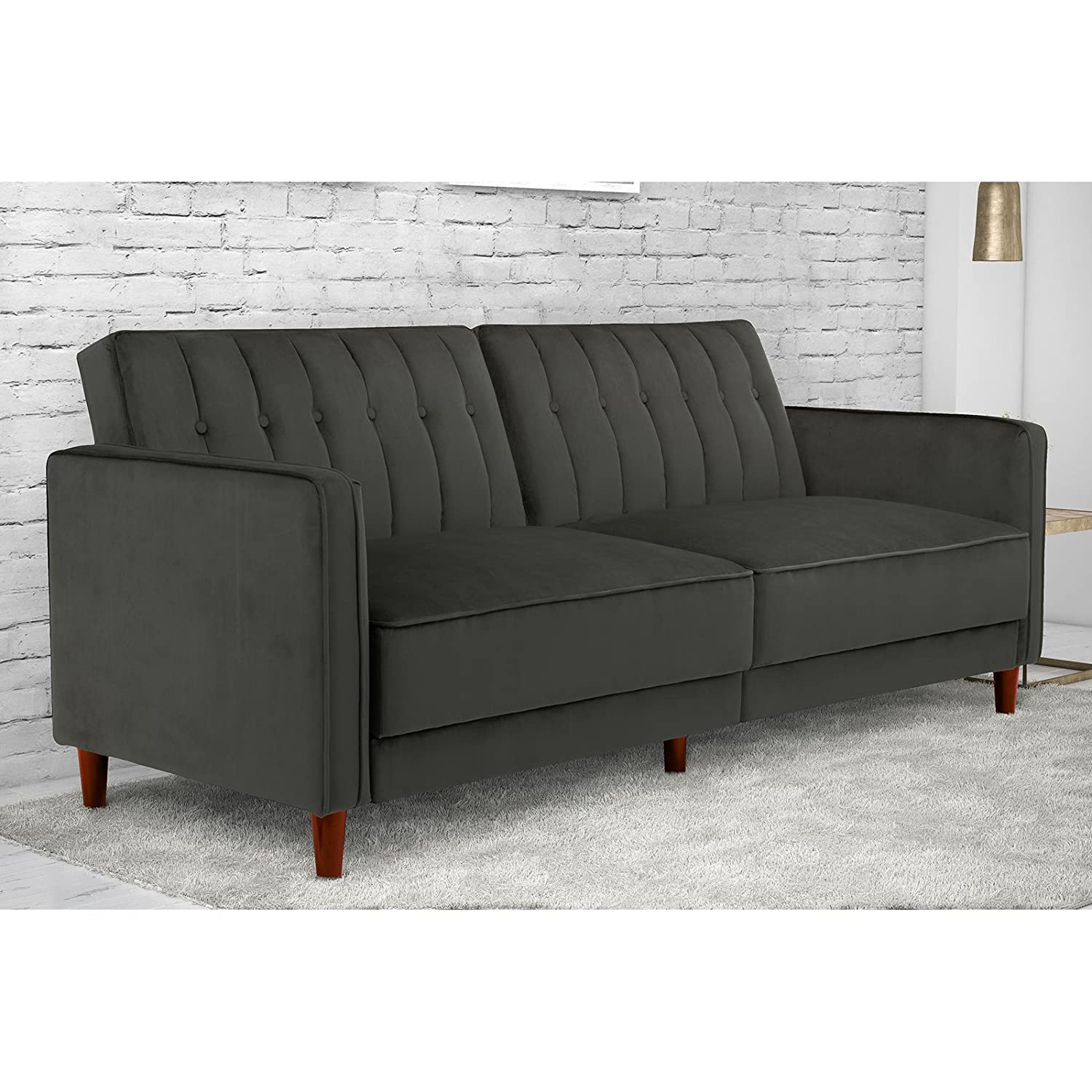 Amazon DHP Pin Velvet Convertible Sleeper Sofa in Tan