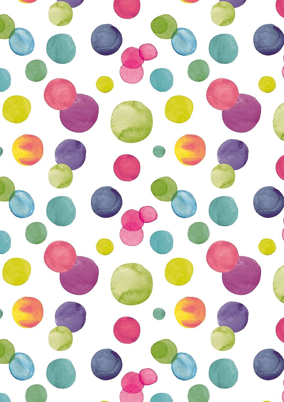 Breite 30cm Geschenkpapier farbige Punkte 50m lang K601848-30cm-50Mtr
