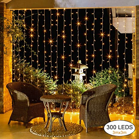 Elegear Cortina de Luces Guirnalda Luces 3×3 LED Iluminación Led ...