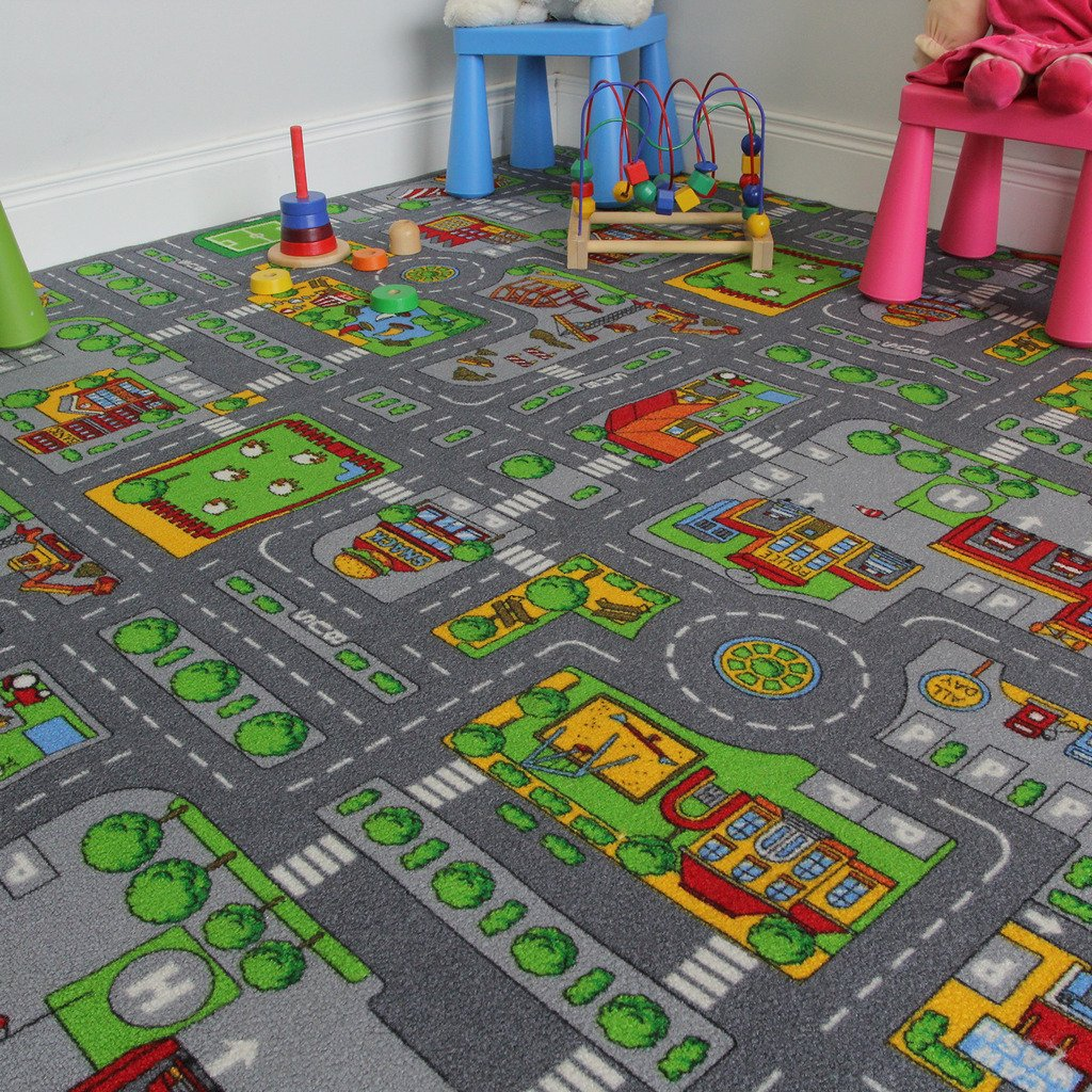 The Rug House Children's Play Village Mat Town City Roads Rug, 200cmx200cm(6ft7''x6ft7'')