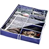 Zipcase Underbed Shoe/Sneaker Organizer for Kids and Adults (12 Pairs) with Ample Space –38 by 23 inch - Under Bed Shoes/Closet Storage Solution