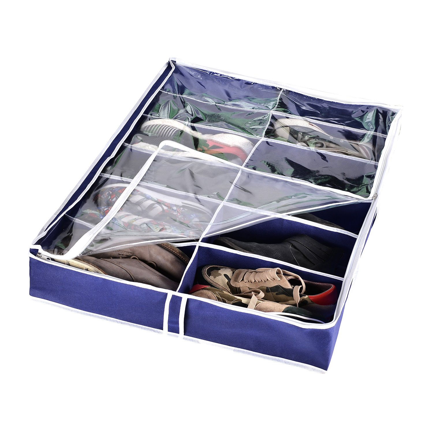 Zipcase Underbed Shoe/Sneaker Organizer for Kids and Adults (12 Pairs) –38 by 23 inch - Under Bed Shoes/Closet Storage Solution Zip-011