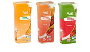 Great Value Drink Mix, Sugar Free, Early Rise Orange, Orange Strawberry Banana and Strawberry Watermelon a Bundle of 3 flavor Canisters. (Canister Designs May Vary)