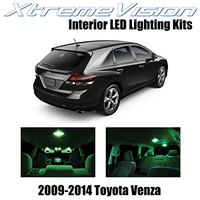 XtremeVision Interior LED for Toyota Venza 2009-2014 (14 Pieces) Green Interior LED Kit + Installation Tool: Automotive