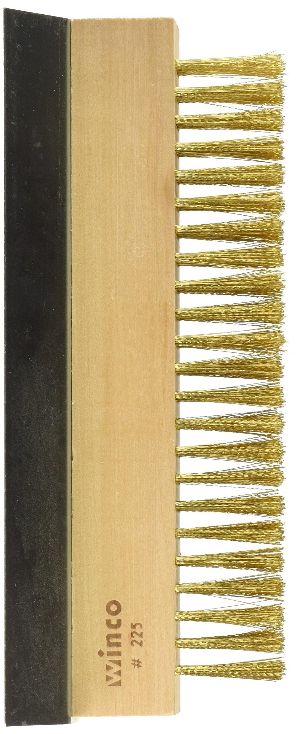 Winco BR-10 Brass Wire Oven Bristle Brush with Metal Scraper by Winco