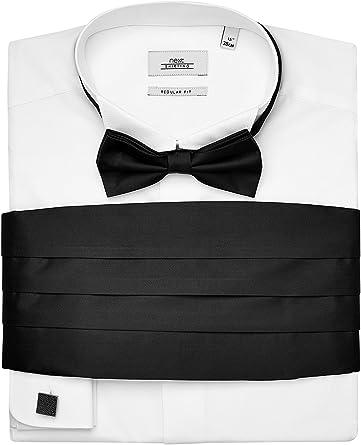 next Hombre Camisa Corte Estándar con Pajarita, Fajín Y Gemelos Regular 18R: Amazon.es: Ropa y accesorios