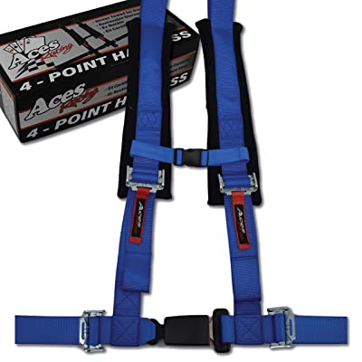 4 Point Harness with 2 Inch Padding (Ez Buckle Technology) (Blue): Automotive