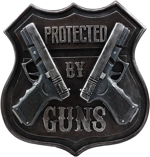 Shooter Guns Bullets Wall Art Sign Plaque Western Two Pistols Wall Décor